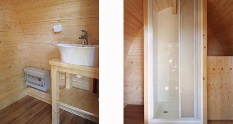 L'intérieur du Lodge sanitaires : douche et lavabo