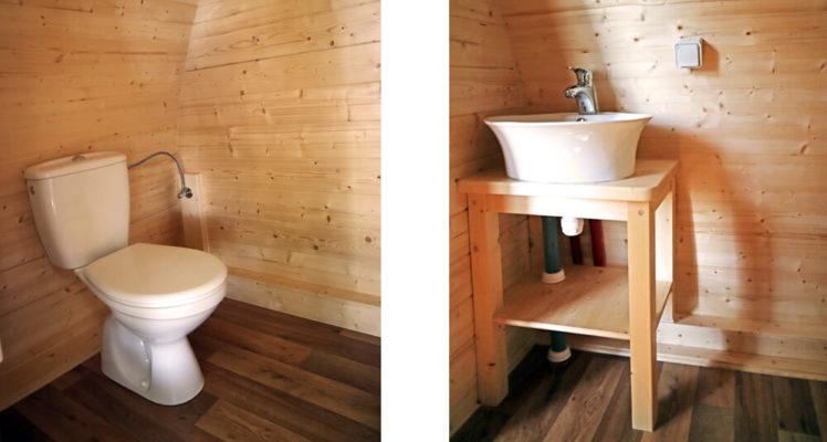 L'intérieur du Lodge sanitaires : toilettes et lavabo