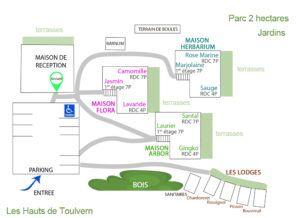 Plan d'ensemble des gites Les Hauts de Toulvern maison de réception et hébergements