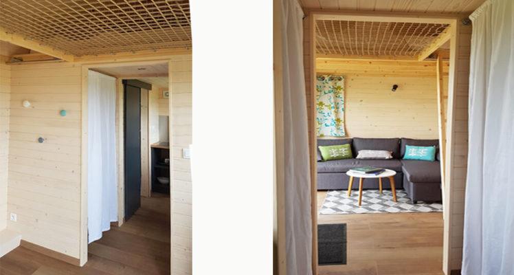 Tiny House 4/6P : vues de l'intérieur côté salle de bain et côté séjour